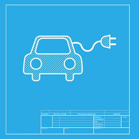 echnology: Eco electric car sign. White section of icon on blueprint template.