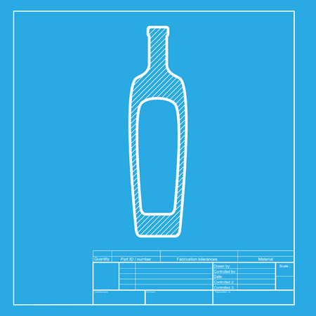 salad dressing: Olive oil bottle sign. White section of icon on blueprint template.