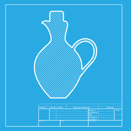 amphora: Amphora sign illustration. White section of icon on blueprint template.