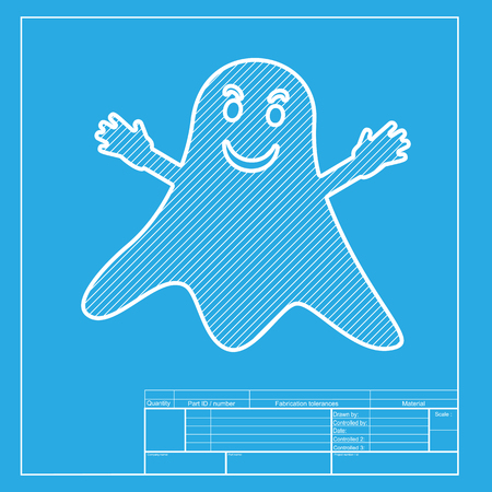Ghost isolated sign. White section of icon on blueprint template.