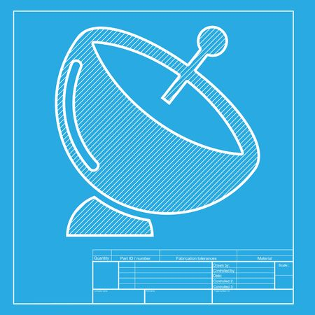 space television: Satellite dish sign. White section of icon on blueprint template.