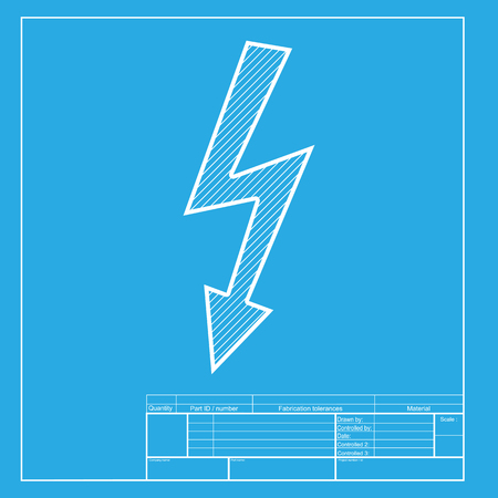 volte: High voltage danger sign. White section of icon on blueprint template.