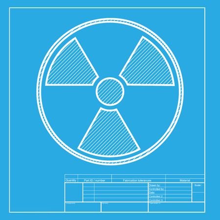 radiological: Radiation Round sign. White section of icon on blueprint template.