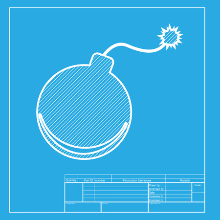 bomb sign: Bomb sign illustration. White section of icon on blueprint template. Illustration