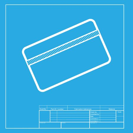 magnetic clip: Credit card symbol for download. White section of icon on blueprint template.