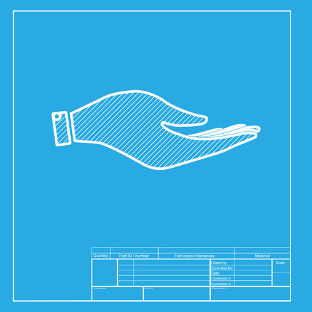 www arm: Hand sign illustration. White section of icon on blueprint template.