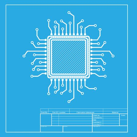 chipset: CPU Microprocessor illustration. White section of icon on blueprint template.
