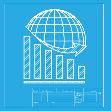 declining: Declining graph with earth. White section of icon on blueprint template.