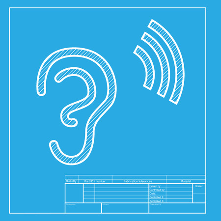 audible: Human ear sign. White section of icon on blueprint template. Illustration