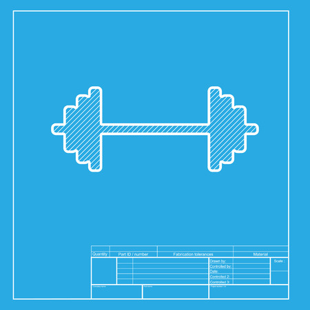 heavy load: Dumbbell weights sign. White section of icon on blueprint template.