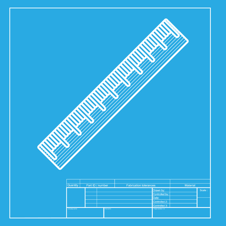 centimeter: Centimeter ruler sign. White section of icon on blueprint template.