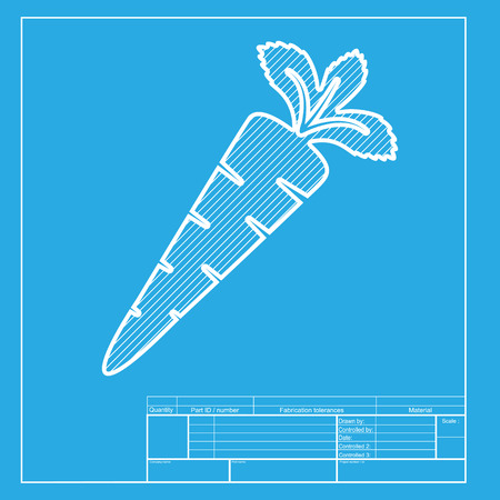 delectable: Carrot sign illustration. White section of icon on blueprint template. Illustration
