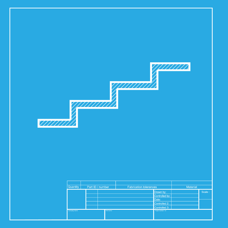 up stair: Stair up sign. White section of icon on blueprint template.