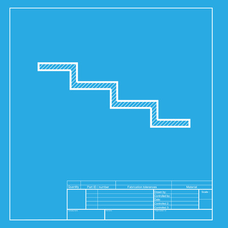 high way: Stair down sign. White section of icon on blueprint template.