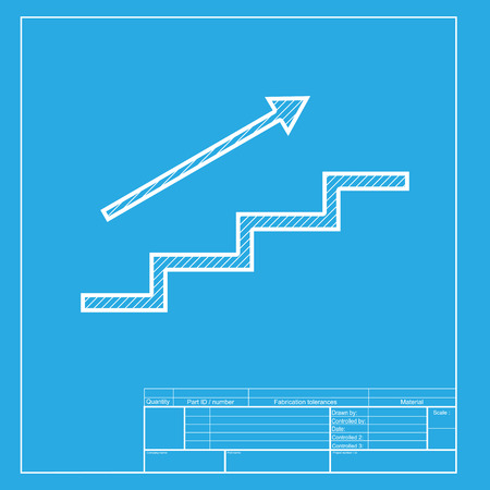 high way: Stair with arrow. White section of icon on blueprint template. Illustration