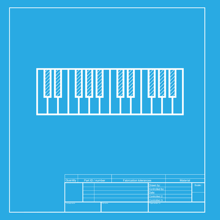 acoustically: Piano Keyboard sign. White section of icon on blueprint template.