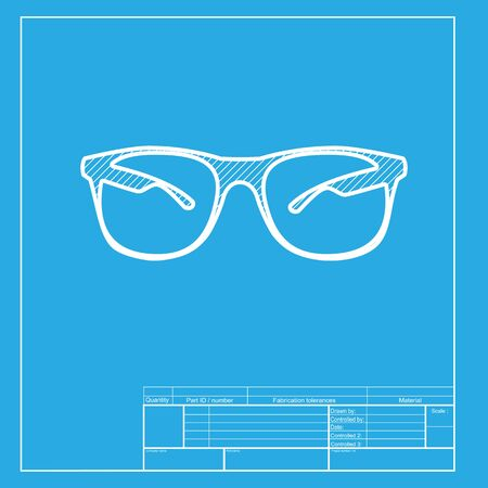 eyewear fashion: Sunglasses sign illustration. White section of icon on blueprint template.