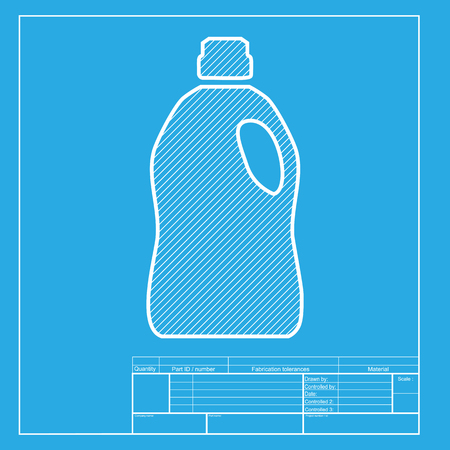 Plastic bottle for cleaning cmyk icons on transparent background white section of icon on blueprint template vector malvernweather Image collections