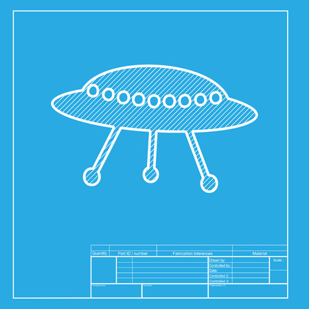 area 51: UFO simple sign. White section of icon on blueprint template. Illustration