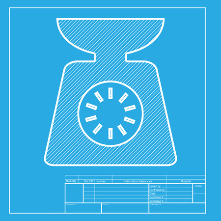 ounce: Kitchen scales sign. White section of icon on blueprint template.