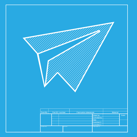 Paper airplane sign dark gray icon on transparent background paper airplane sign white section of icon on blueprint template vector malvernweather Choice Image