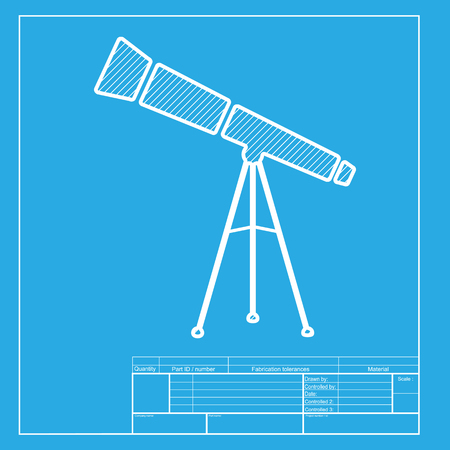 planetarium: Telescope simple sign. White section of icon on blueprint template.