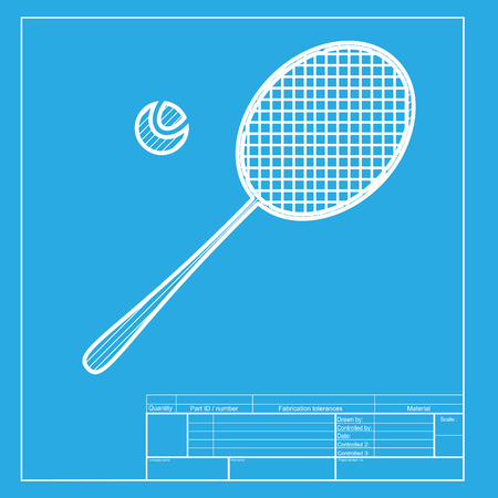 racquet: Tennis racquet sign. White section of icon on blueprint template.