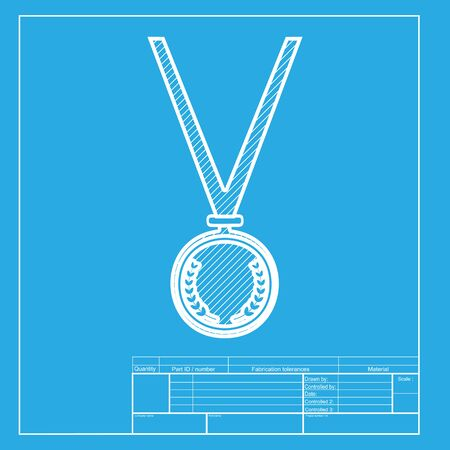 conquering: Medal simple sign. White section of icon on blueprint template. Illustration