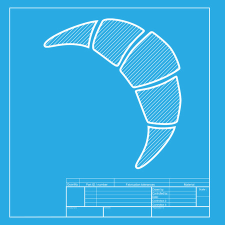 www tasty: Croissant simple sign. White section of icon on blueprint template. Illustration