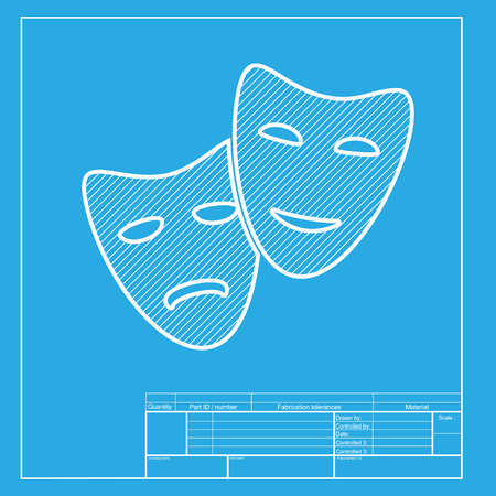 actor: Theater icon with happy and sad masks. White section of icon on blueprint template.