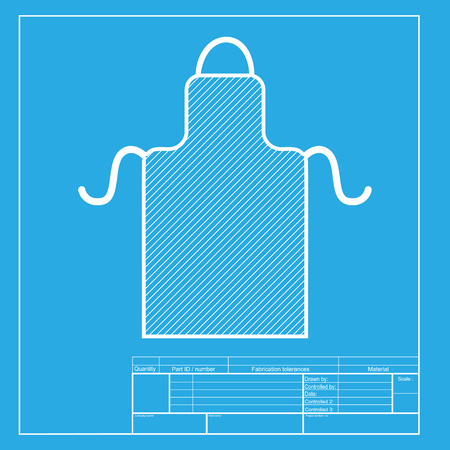 barbecue stove: Apron simple sign. White section of icon on blueprint template.