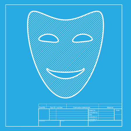 comedy: Comedy theatrical masks. White section of icon on blueprint template.