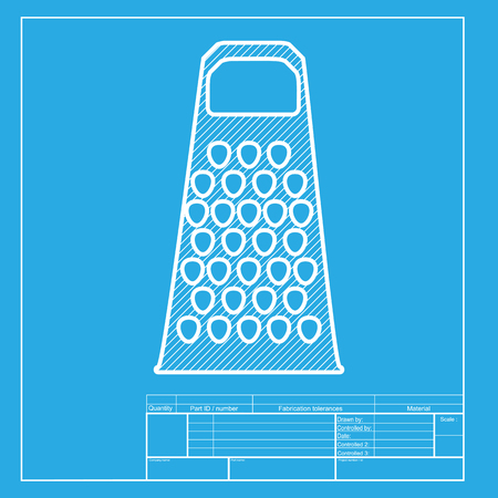 cheese grater: Cheese grater sign. White section of icon on blueprint template.