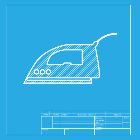 smoothing: Smoothing Iron sign. White section of icon on blueprint template.