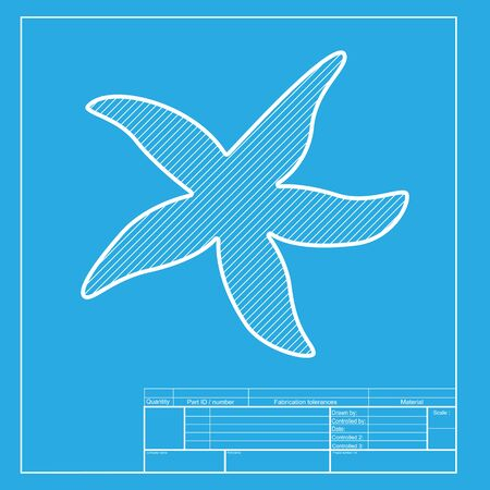 sea star: Sea star sign. White section of icon on blueprint template. Illustration