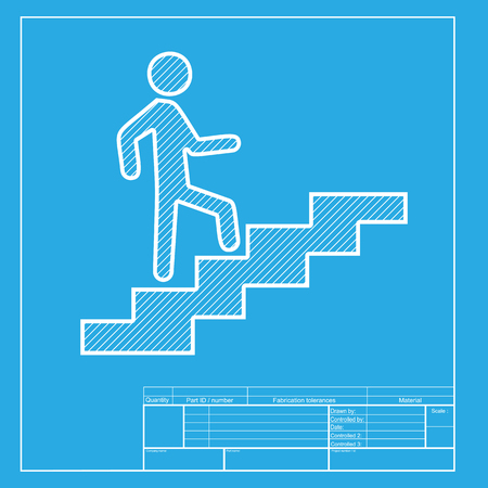 ascend: Man on Stairs going up. White section of icon on blueprint template. Illustration
