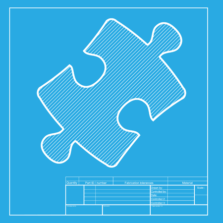 Puzzle piece sign. White section of icon on blueprint template.