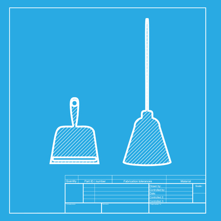 dustpan: Dustpan vector sign. Scoop for cleaning garbage housework dustpan equipment. White section of icon on blueprint template.