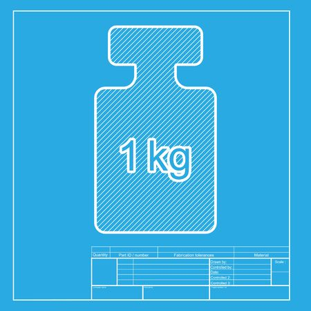 gram: Weight simple sign. White section of icon on blueprint template. Illustration