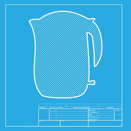 electric kettle: Electric kettle sign. White section of icon on blueprint template. Illustration