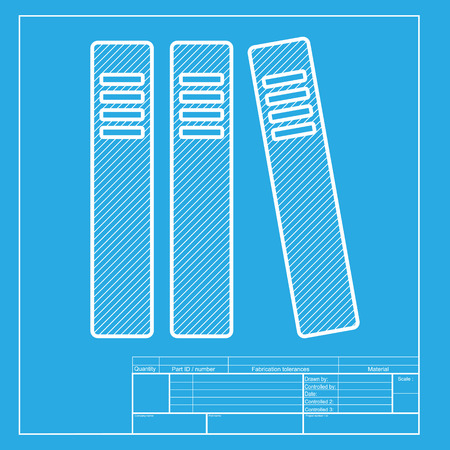 retain: Row of binders, office folders icon. White section of icon on blueprint template.