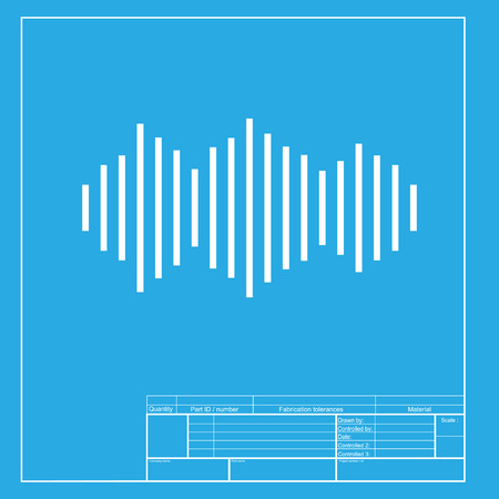 vibrations: Sound waves icon. White section of icon on blueprint template.