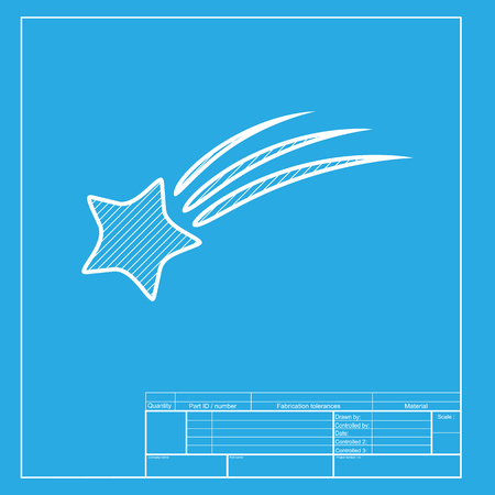 starfall: Shooting star sign. White section of icon on blueprint template.
