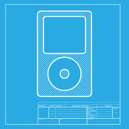mp: Portable music device. White section of icon on blueprint template. Illustration