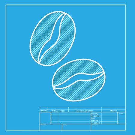 decaffeinated: Coffee beans sign. White section of icon on blueprint template. Illustration