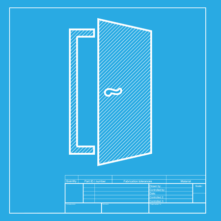 door sign: Door sign illustration. White section of icon on blueprint template.