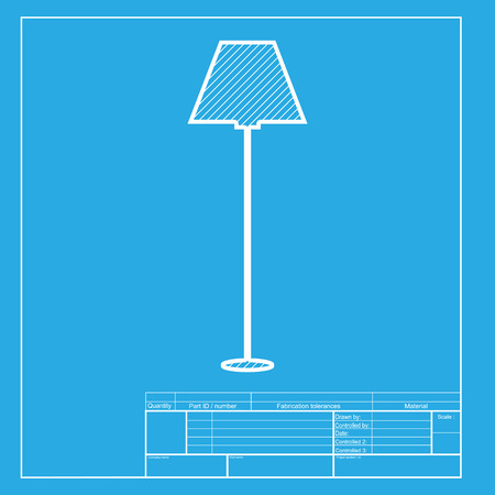 lamp simple sign white section of icon on blueprint template