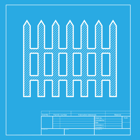 dissociation: Fence simple sign. White section of icon on blueprint template.