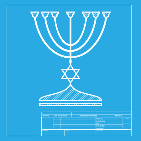 menora: Jewish Menorah candlestick in black silhouette. White section of icon on blueprint template.