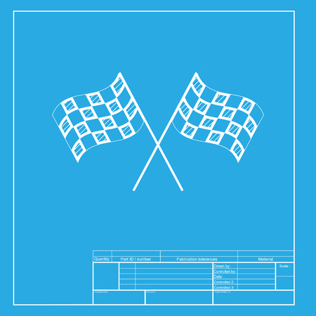 crossed checkered flags: Crossed checkered flags logo waving in the wind conceptual of motor sport. White section of icon on blueprint template. Illustration